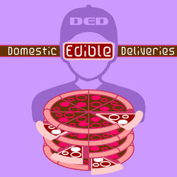 A pizza delivery man / robot holding a stack of pizzas reminiscent of a generic symbol for a database. From a distance it appears the delivery man's chest has been torn open and his ribs are exposed. Implications of both delivering data and cannibalistic overtones.