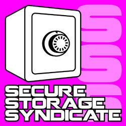 A stylised brutal-looking safe on a neon purple background, with a chain-like link of S's in the background. Perhaps partially a subtle SS / fascist reference.