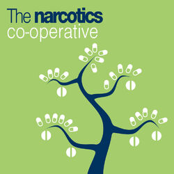 A lampoon of the Coop logo and colours, with a tree sprouting pills instead of leaves.
