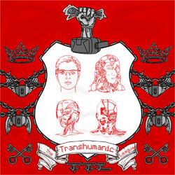 A coat of arms displaying multiple stages of transhuman evolution, starting with a glasshole. The border of the shield is crenellated like a cog. A fist reaches up out of a virtual reality headset at the top to grab a handful of cash (itself an extremely vintage concept here). The ribbon under the shield is written in a dot matrix font, and the abbreviation of the transhumanic league, TTL, harks back to terminals of old. Chained padlocks with wings represent the intrinsic limitation of the human condition, and the keys below and crown above symbolise the League's liberation and subsequent rule over that condition. The background features a faintly drawn face, referencing the ubiquitous posters in Mamoru Oshii's The Red Spectacles.