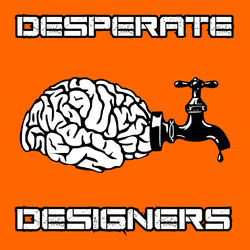 A line drawing of a brain with a baroque tap attached, dripping a meagre drop of black creativity. The logotype surrounds the brain in industrial-futuristic scuffed stencil font.