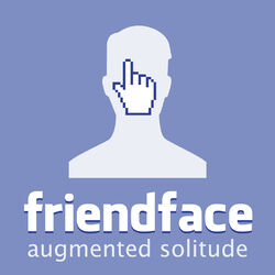 A blatant lampoon of the Facebook logo, using a similar font, with an outline image reminiscent of the default profile picture, being clicked on, right in the face.