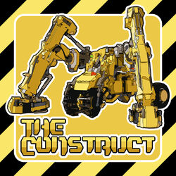 A dangerous-looking Japanese-style construction mecha on a roadworks-style sign background.