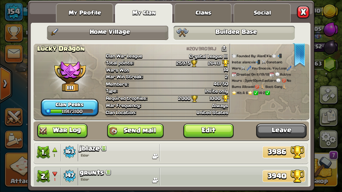 Leader 14-2 record clan. Loss was by a star and 2 stars. One month old clan. Maxed players of any TH