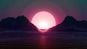 Retrowave Lines Ocean Hills Sunset Vector 1280x720