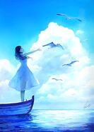 Girl Boat Birds