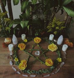 Pentacle on wiccan altar.jpg