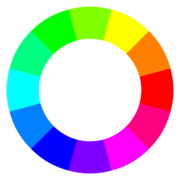 A color wheel of 12 hues using the RGB color model.