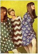 1960-pattern-purple-green-brown-shift-dresses