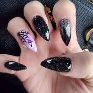 Black and pink kawaii nails