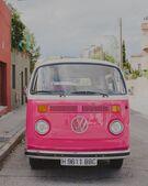 Pink van bus