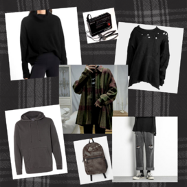 a fashion moodboard with a faint plaid background, depicting a black turtleneck, a walkman, a frayed gray sweater with holes, a person in an oversize tweet jacket over a black shirt, a gray hoodie, a battered backpack, and ripped jeans and Converse