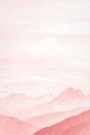 Pink Pastel Soft Clouds and Mountain