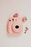Peachy Vintage Pink Camera with Flowers