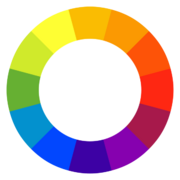 A color wheel of 12 hues using the RYB color model.