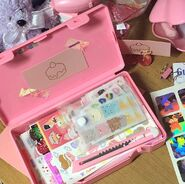 Cute pink box of stickers