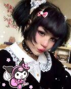 A girl dressed up as kuromi