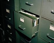 Horror academia filing cabinet drawer