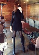 Black outfit lady coffee