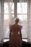 Lace curtain bow dress