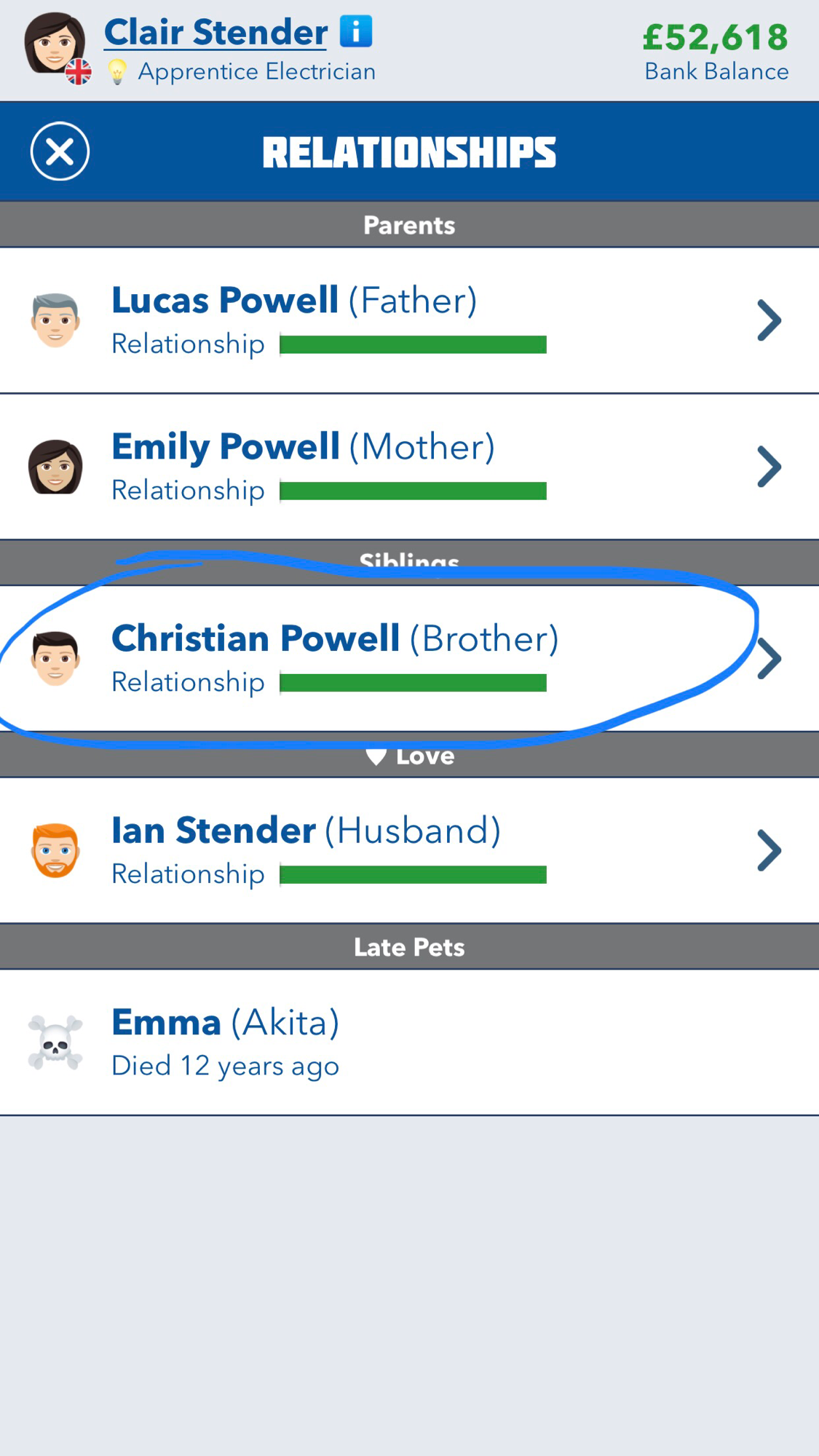 bitlife,another game that i'm so obsessed with really blessed me with naming my brother chris powell