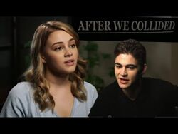Anna Todd, Hero Fiennes Tiffin, and Josephine Langford on set of After We Collided Movie
