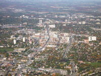 Aerial photo of downtown Kitchener, Ontario, Canada. It was taken from 2000 feet ASL, and looking north. Just after takeoff on VFR flight from Waterloo Regional airport. Photo was taken on in the fall. October 11, 2008.