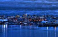The skyline of Victoria, British Columbia at twilight.