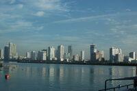 The skyline of Manila seen from across Manila Bay on November 27th, 2011.