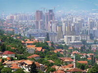 Bosmal city center in Sarajevo on July 4th, 2004.
