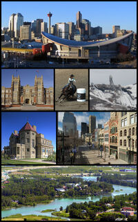A montage of images of notable locations in Calgary, Alberta.