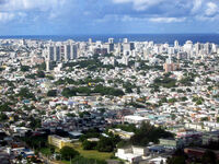 An aerial of San Juan, Puerto Rico.