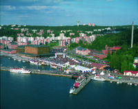 An aerial view of the Lahti harbour and Lake Vesijärvi.