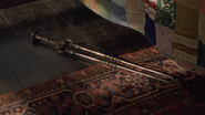 The murder weapon in Taken at the Flood