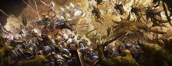 Hallowed Knights fighting Nurgle Daemons in Ghyran Colour Illustration.jpg