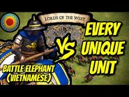 ELITE BATTLE ELEPHANT (Vietnamese) vs EVERY UNIQUE UNIT - AoE II- Definitive Edition