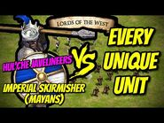 IMPERIAL SKIRMISHER (Mayans) vs EVERY UNIQUE UNIT (Lords of the West) - AoE II- Definitive Edition