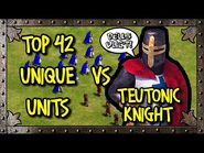 TOP 42 UNIQUE UNITS vs ELITE TEUTONIC KNIGHT (Equal Resources) - AoE II- Definitive Edition