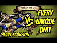 HEAVY SCORPION vs EVERY UNIQUE UNIT (Lords of the West) - AoE II- Definitive Edition