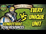 Condottiero (Aztecs) vs EVERY UNIQUE UNIT (Total Resources) - AoE II- Definitive Edition