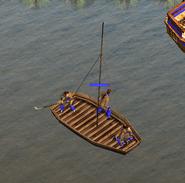 Flat-bottomed boat