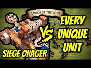 SIEGE ONAGER vs EVERY UNIQUE UNIT (Lords of the West) - AoE II- Definitive Edition