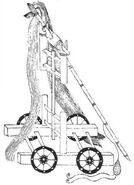 Wheeled traction trebuchet chinese