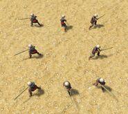 Eight Javanese spearmen