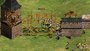 Berserkers atacando una fortificación enemiga en construcción