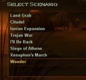 The original scenario list of Glory of Greece