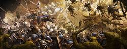 Caballeros Santificados luchando contra demonios de nurgle.jpg