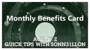 Age of Z - Quick Tips - Monthly Benefits Card