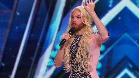 America's Got Talent 2015 S10E03 Scott Heierman Bearded Cross Dressing Comedian