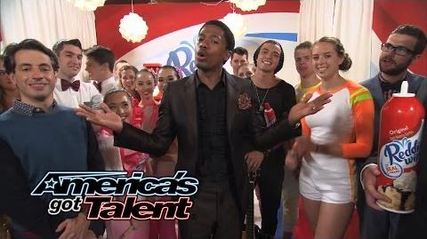 Reddi-Wip After Party JD Eats It, Miguel Rocks Out, Selfies With Nick - America's Got Talent 2014